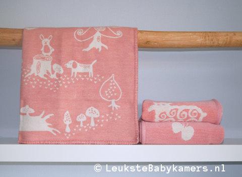 Wiegdeken Little Bear katoen roze Klippan