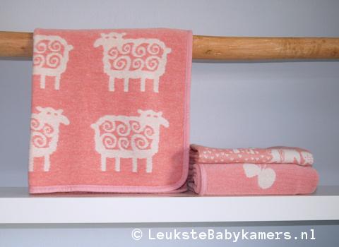 Wiegdeken Schaapjes katoen roze Klippan