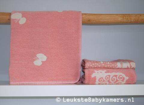 Wiegdeken Vlinders katoen roze Klippan